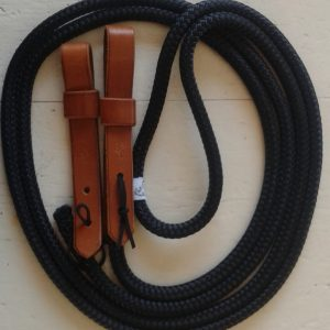 black rope reins with brown slobber straps
