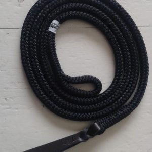 black rope with loop at one end and leather popper on the other