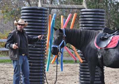 Cowboy standing with black horse beside obstacle made up of large black tubes and hanging pool noodles