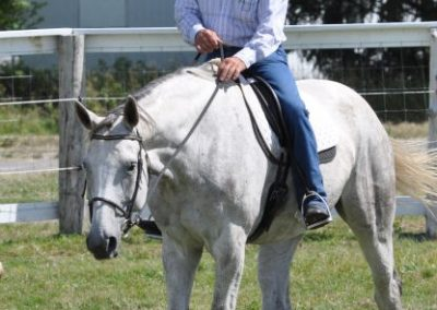 Cowboy in white hat riding a grey horse