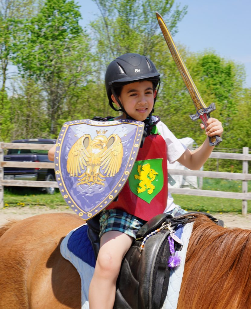 Boy wearing back helmet, red tabbard with lion crest holding a sword and shield while sitting on a horse